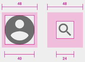 Un icono de 40 por 40 píxeles con un área clicable de 48x48. Otro icono de 24x24 con un área clicable de 48 por 48 píxeles.