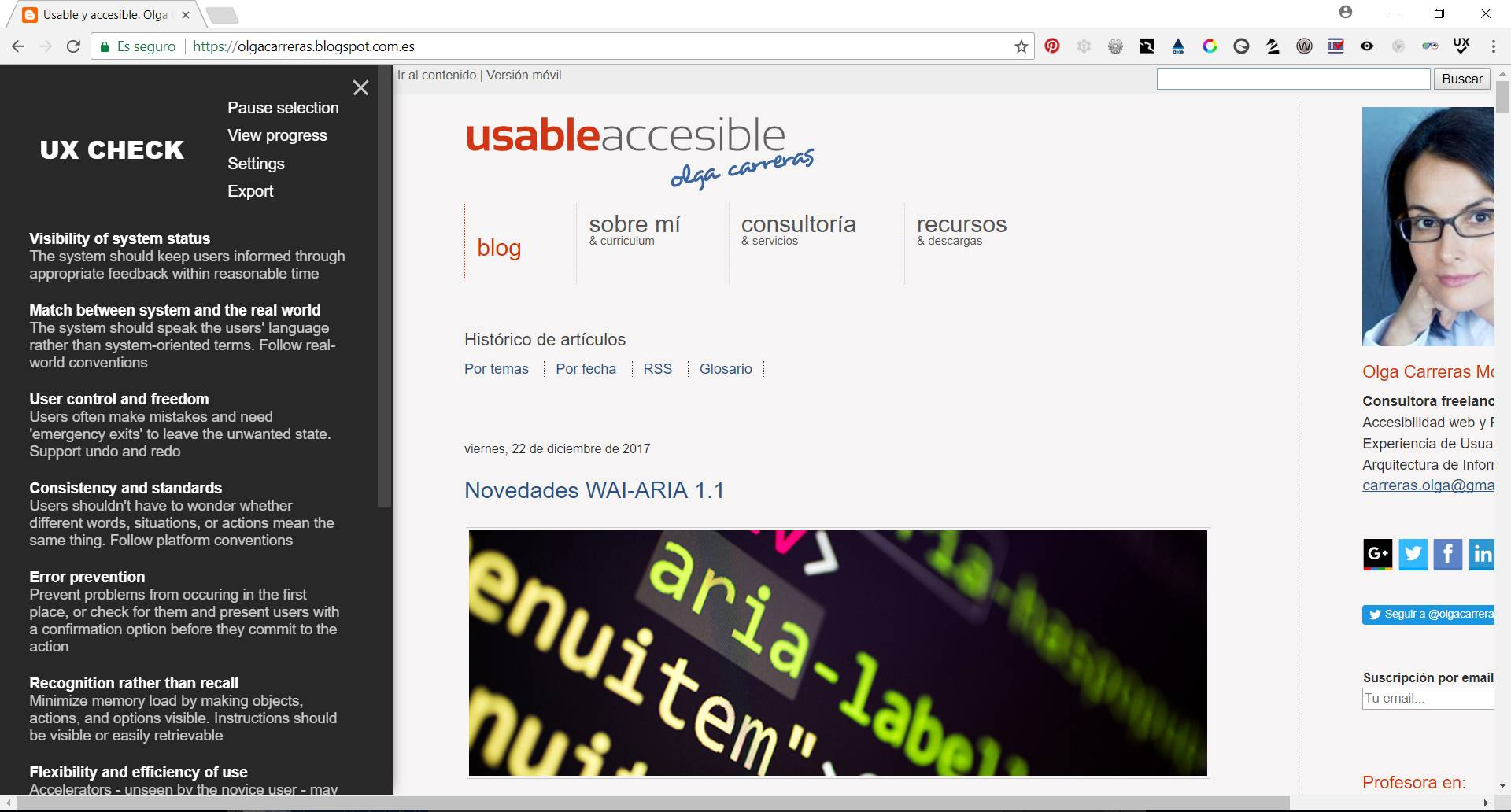 UX Check activado en el navegador. En el lateral izquierdo el listado de heurísticas y el menú (Pause, View Progress, Settings y Export). En la zona central la página web.