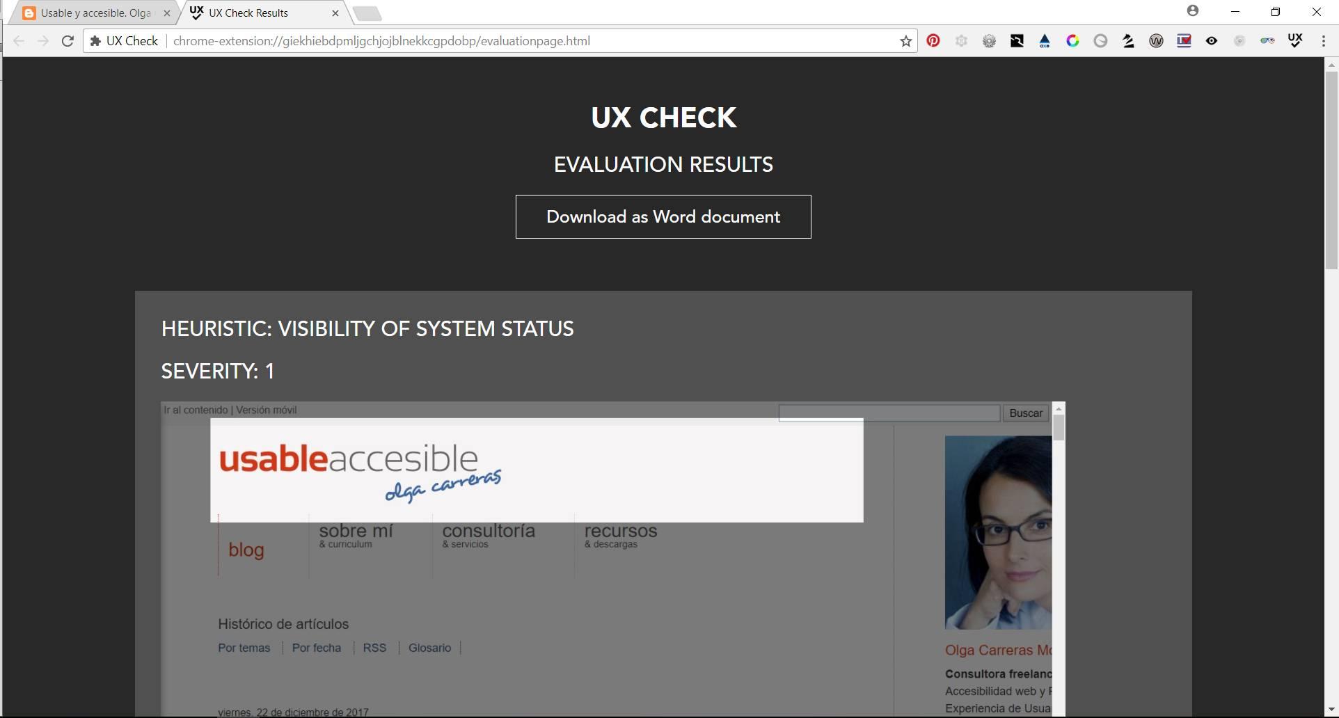 Informe en formato HTML de UX Check. Los resultados se listan agrupados por heurísticas: heurística, gravedad, imagen, nota y recomendación. Hay un botón para exportarlo a Word.