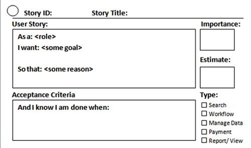 User Story: as a role I want some goal so that some reason. Acceptance criteria: and I know I am done when; Importance; Estimate; Type